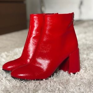 Faux Leather Red Booties